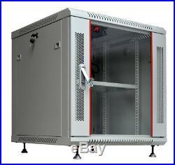 12U 24 Deep Gray Wall Moun Network IT Server Cabinet Enclosure Rack Glass Door
