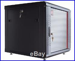12U 24 Deep Wall Mount Server Cabinet Enclosure Rack Glass Door ACCESSORIE FREE