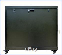 12U 35 Inch Depth Server Rack Cabinet Enclosure Wheels-Thermosystem-LCD Screen