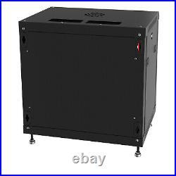 12U IT Data Rack 24 Inch Depth Server Cabinet Network Enclosure Glass Door Lock