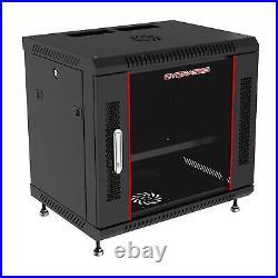 12U IT Rack Wall Mount Server Cabinet 24 Deep Data Enclosure Glass Door Lock