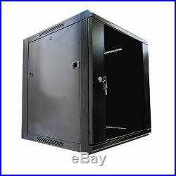 12U Server Rack Cabinet Enclosure Wall Mounted WithLocking Glass Door 17inch depth