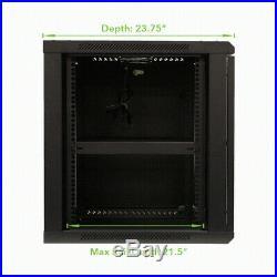12U Wall Mount Audio Video A/V 24 Cabinet Rack Enclosure Door Lock and Shelves