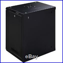 12U Wall Mount Network Equipment Server Data Cabinet Enclosure Rack Glass Door