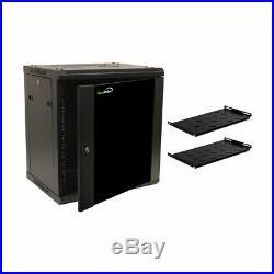12U Wall Mount Network Server 19 Cabinet Rack Enclosure Door Lock With Shelves