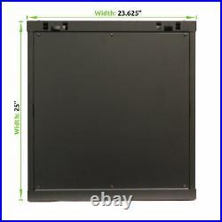 12U Wall Mount Network Server 19 Inch IT Cabinet Rack Enclosure Glass Door Lock