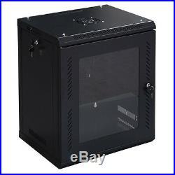 12U Wall Mount Network Server Data Cabinet Enclosure Rack Glass Door Lock HOT
