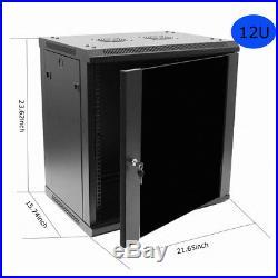 12U Wall Mount Network Server Data Cabinet Enclosure Rack Net Door Lock with Fan