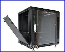 12U Wall Mount Network Server Data Cabinet Enclosure Rack with PDU, Shelf, Fan, Feet
