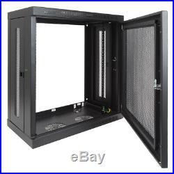 12U Wall Mount Rack Cabinet 13 Patch Panel Depth Enclosure Perforated Door Lock