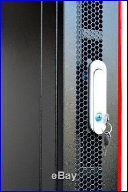 12U Wall Mount Server Rack Cabinet Enclosure Glass Doors Vented Shelf