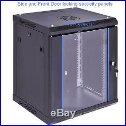 12U Wallmount Network Server Data Cabinet Enclosure Rack with Glass Door Air Fan