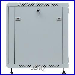 15U 24 Deep Gray Wall Moun Network IT Server Cabinet Enclosure Rack Glass Door
