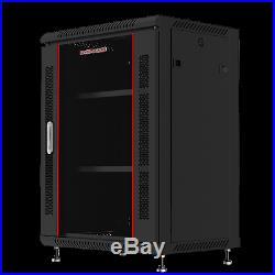 15U 24 Deep Wall Mount Server Cabinet Enclosure Rack Glass Door ACCESSORIE FREE