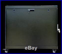 15U 35 Inch Depth Server Rack Cabinet Enclosure Wheels-Thermosystem-LCD Scree