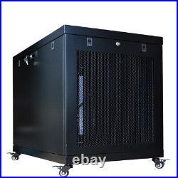 15U 35 Inch Depth Server Rack Cabinet Enclosure Wheels-Thermosystem-LCD Screen