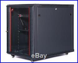 15U IT Portable Server Rack Cabinet 35 Inch Depth Data Rack Enclosure on Casters