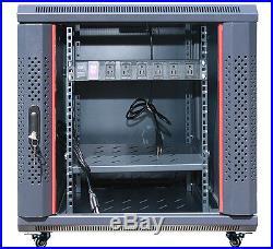 15U Network Server Data Cabinet Enclosure 35 Deep Wall Floor Mount IT Data Rack