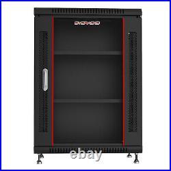 15U Rack Server Data Cabinet Enclosure Glass Door Lock on Feet with Bonus
