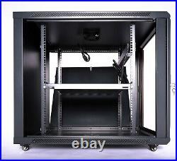 15U Server Cabinet Enclosure Rack Glass Door 35'' Deep with Casters Shelf and Fan
