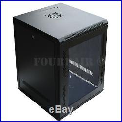 15U Wall Mount IT Server Network Cabinet Rack Enclosure Glass Door Lock 18 Deep