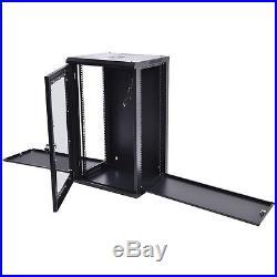 15U Wall Mount Network Server Cabinet Chest Data Glass Door Lock Enclosure Rack