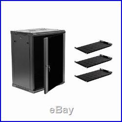 15U Wall Mount Network Server Cabinet Rack Enclosure Glass Door Lock withshelves