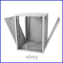15U Wall Mount Network Server Data Cabinet Enclosure Rack Glass Door Lock