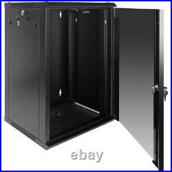 15U Wall Mount Network Server Data Cabinet Enclosure Rack Glass Door Lock with Fan