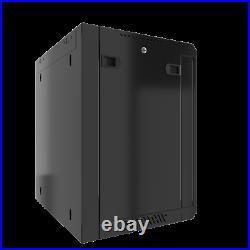 15U Wall Mount Server Cabinet Locking Networking Enclosure Data Rack Glass Door