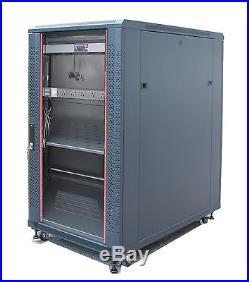 18U 39 Deep 19 IT Free Standing Server Rack Cabinet Enclosure + Bonus Free