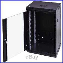 18U Data Network Server Rack Cabinet Wallmount with Locking Glass Door Enclosure