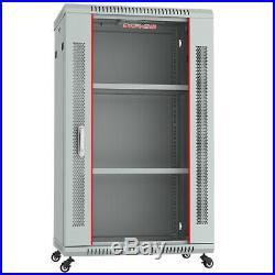 18U IT Portable Server Rack Cabinet 24 Inch Deep Enclosure Light Gray on Casters