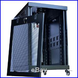 18U IT Portable Server Rack Cabinet 24 Inch Depth Rack Enclosure Premium Series