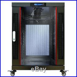 18U Network Server Cabinet Rack Enclosure 24 Inch Deep Premium Series on Casters