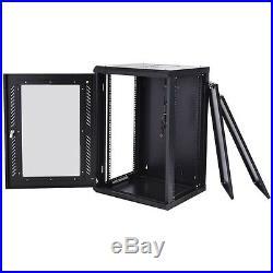18U Network Server Data Cabinet Wall Mount Enclosure Rack Glass Door Lock withFan