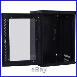 18U Network Server Data Cabinet Wall Mount Enclosure Rack Glass Door Lock with Fan