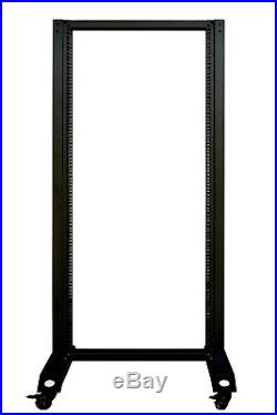 18U Open Frame Server Cabinet 2 Post IT Network Data Rack Enclosure on Casters