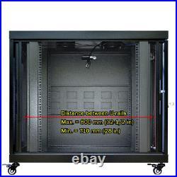 18U Portable Server Rack Cabinet 35'' Depth Enclosure Premium Series on Casters