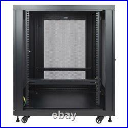18U Server Data Cabinet Rack Enclosure Mid Depth 33 Deep Perforated Door Lock