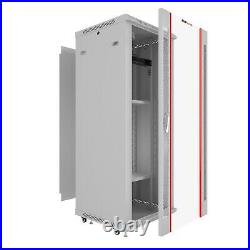 18U Server Rack Cabinet Network Enclosure Light Gray with Accessories