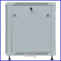 18U Server Rack Cabinet Wall Mount Grey IT Network Data Enclosure 24 Depth