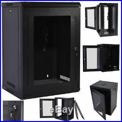 18U Wall Mount Network Data Server Cabinet Enclosure Rack Glass Door Lock with Fan