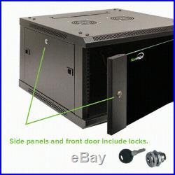 18U Wall Mount Network Server Cabinet Rack Enclosure Glass Door Lock withCasters