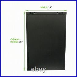 18U Wall Mount Network Server Cabinet Rack Enclosure Glass Door Lock withshelves