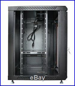 18U Wall Mount Network Server Data Cabinet 18'' Depth Rack Enclosure with Bonus