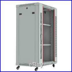 18U Wall Mount Network Server Data Cabinet Rack Enclosure Light Gray with Bonus