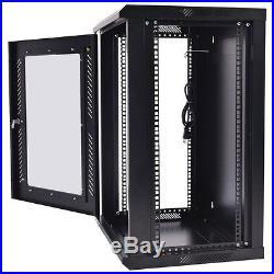 18U Wall Mount Network Server Data Cabinet Rack Glass Enclosure Door Lock with Fan