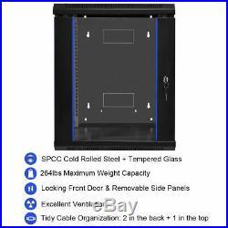 18U Wallmount Data Cabinet Enclosure 19 Server Network Rack Locking Glass Door