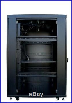 22U 32 Inch Depth Server Rack Cabinet Network It Enclosure Vented Mesh Doors